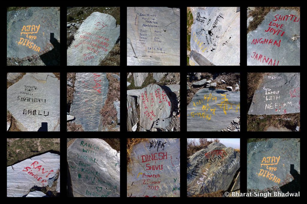 Don't leave you names on trails. It is NOT cool. If you want to keep a reminder of your trek, take a picture